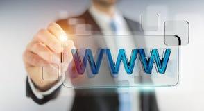 Zakenman die op Internet surfen die tastbare website 3D bar gebruiken Stock Afbeeldingen
