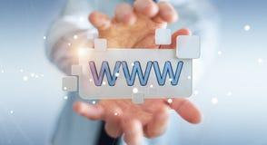 Zakenman die op Internet surfen die tastbare website 3D bar gebruiken Royalty-vrije Stock Foto's