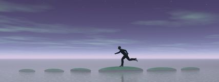 Zakenman die op stappen - het 3D teruggeven loopt Royalty-vrije Stock Foto