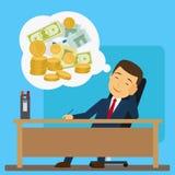 Zakenman die over geld dromen vector illustratie