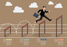 Zakenman die over hogere infographic hindernis springen Stock Afbeeldingen