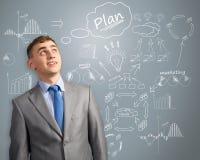 Zakenman die over innovatie in zaken denken royalty-vrije stock foto