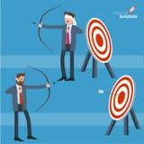 Zakenman die pijl en blinddoekzakenman schieten die doel zoeken vector illustratie