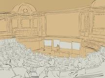 Zakenman die presentatie maken die grafieken op een witte raad verklaren Bedrijfsseminarie royalty-vrije stock afbeeldingen