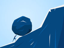 Zakenman die reusachtige steen verhoogt de heuvel De ontbering van de bedrijfsprobleemcrisis en lastconcept royalty-vrije illustratie