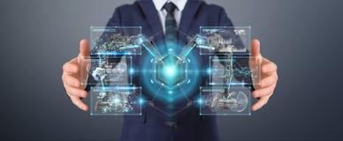 Zakenman die roboticawapens met het digitale het scherm 3D teruggeven met behulp van Royalty-vrije Stock Fotografie