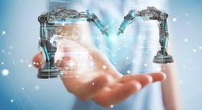 Zakenman die roboticawapens met het digitale het scherm 3D teruggeven met behulp van Royalty-vrije Stock Afbeelding