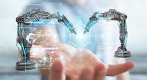 Zakenman die roboticawapens met het digitale het scherm 3D teruggeven met behulp van Stock Foto