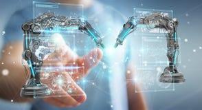 Zakenman die roboticawapens met het digitale het scherm 3D teruggeven met behulp van Stock Afbeeldingen