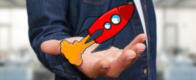Zakenman die rode hand getrokken raket in zijn hand houden Royalty-vrije Stock Fotografie