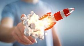 Zakenman die rode raket in zijn hand het 3D teruggeven houden Royalty-vrije Stock Afbeelding