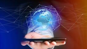 Zakenman die smartphone met een Verbonden netwerk over een oor gebruiken Stock Foto's