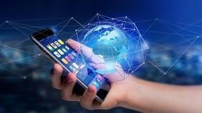 Zakenman die smartphone met een Verbonden netwerk over een oor gebruiken Royalty-vrije Stock Foto's