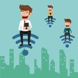 Zakenman die smartphone met Internet-wifi gebruiken om zaken en levensstijl te steunen Stock Foto