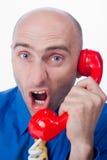 Zakenman die in telefoon schreeuwt Royalty-vrije Stock Foto's