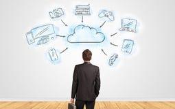 Zakenman die in twijfel aan een muur met het online concept van het taakbeheer kijken vector illustratie