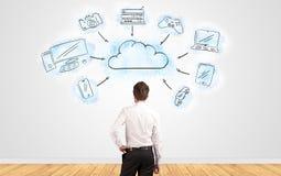 Zakenman die in twijfel aan een muur met het online concept van het taakbeheer kijken stock illustratie