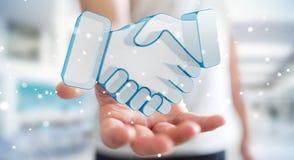 Zakenman die vennootschap het 3D teruggeven besluiten Royalty-vrije Stock Afbeelding