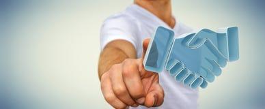 Zakenman die vennootschap het 3D teruggeven besluiten Royalty-vrije Stock Foto
