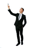 Zakenman die verbinding op de telefoon zoeken Royalty-vrije Stock Foto