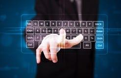 Zakenman die virtueel type van toetsenbord drukken Royalty-vrije Stock Foto