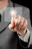 Zakenman die virtuele knoop drukt Royalty-vrije Stock Foto