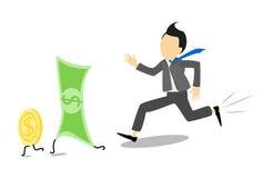 Zakenman die voor bankbiljetten of rekeningen de Amerikaanse dollar in werking stellen royalty-vrije illustratie