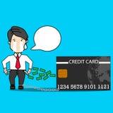 Zakenman die voor creditcardschuld schreeuwen stock illustratie