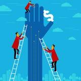 Zakenman die voor dollar met ladder bereiken vector illustratie