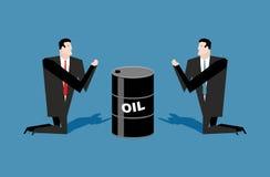 Zakenman die voor olievaten bidden De citaten van de gebedolie Peo vector illustratie