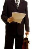 Zakenman die voor zijn presentatie voorbereidingen treft Stock Foto's