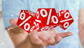 Zakenman die witte en rode verkoop gebruiken die pictogrammen het 3D teruggeven vliegen Royalty-vrije Stock Afbeeldingen