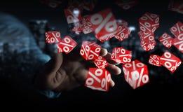 Zakenman die witte en rode verkoop gebruiken die pictogrammen het 3D teruggeven vliegen Stock Foto's