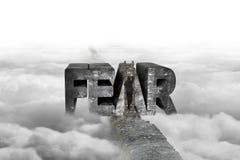 Zakenman die woord van de ladder het veroverende vrees op rand met c beklimmen Stock Foto