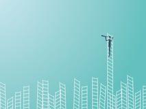 Zakenman die zich bovenop een ladder met een telescoop of monocular bevinden Bedrijfsleiding of onrealistisch vectorconcept royalty-vrije illustratie