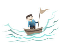 Zakenman die zich op de boot bevinden Stock Afbeelding