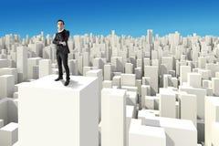 Zakenman die zich op het dak van een 3d wolkenkrabber bevinden Royalty-vrije Stock Foto's