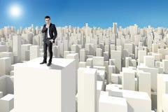 Zakenman die zich op het dak van een 3d wolkenkrabber bevinden Royalty-vrije Stock Afbeeldingen