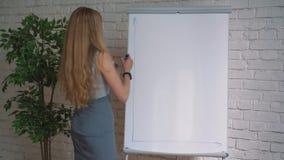 Zakenman die zijn ideeën op witte raad zetten tijdens een presentatie in conferentieruimte Nadruk in handen met markeerstift stock videobeelden