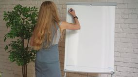 Zakenman die zijn ideeën op witte raad zetten tijdens een presentatie in conferentieruimte Nadruk in handen met markeerstift stock video