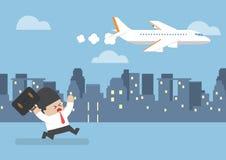 Zakenman die zijn vlucht miste die achter een vliegtuig lopen royalty-vrije illustratie