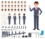 Zakenman in donkerblauwe de verwezenlijkingsreeks van het kostuumkarakter De vectoraannemer van de het bureaumanager van de beeld royalty-vrije illustratie