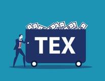 Zakenman dragend geld met belasting De vectorillustratie van de conceptenvennootschapsbelasting royalty-vrije illustratie