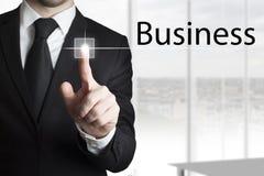 Zakenman dringende touchscreen zaken Stock Afbeelding