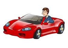 Zakenman Driving Sport Car royalty-vrije illustratie