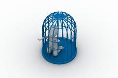 Zakenman in een 3d vogelkooi Stock Afbeeldingen