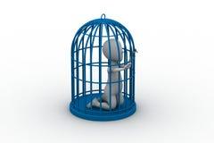 Zakenman in een 3d vogelkooi Royalty-vrije Stock Fotografie