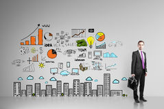 Zakenman en bedrijfsstrategie Stock Afbeelding