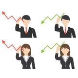 Zakenman en bedrijfsvrouwentekeningspijl Royalty-vrije Stock Fotografie