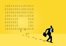 Zakenman en binaire code stock foto